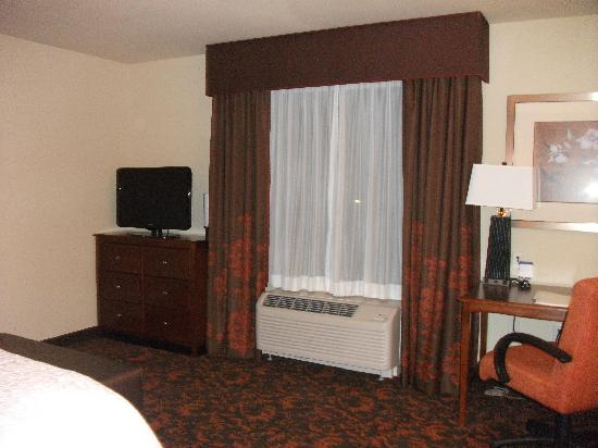 Hampton Inn & Suites Holly Springs : TV and Window area
