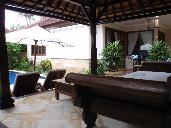 The Zen Villas: View across yard Serenity Villa F