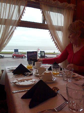 Sunderland, UK: View of sea while having breakfast.