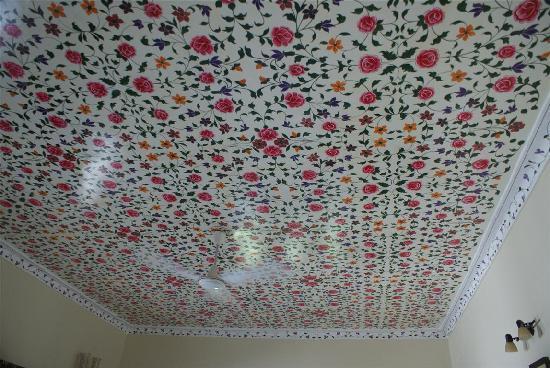 Alwar Bagh (Sariska) by Aamod: Handpainted ceiling in our suite's room
