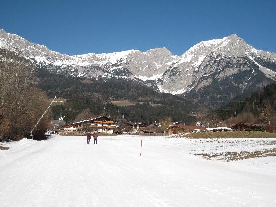 Waldrand: View up the Blue piste to Scheffau village