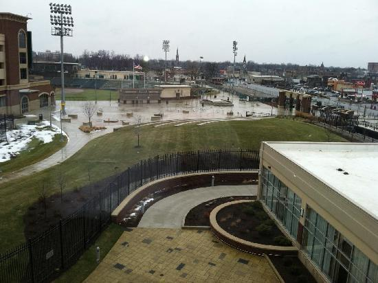 Courtyard Fort Wayne Downtown at Grand Wayne Convention Center: 4th floor room view overlooking Parkview Ball field