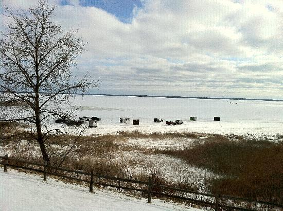 Gladstone, MI: Ice fishing shantys seen from the room's balcony