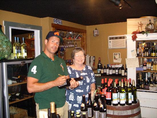Boothbay Resort: Tancy with Dogfish Head owner Sam Calagione, checking out our beer mine.