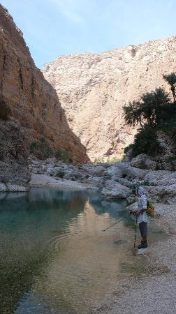Oman Dive Center Resort: hiking in wadi As Shab (south-east of Muscat)