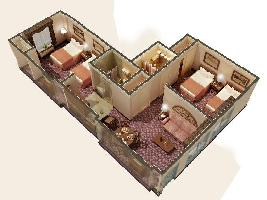 Quality Suites Royale Parc Suites: Two Bedroom Suite layout
