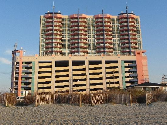 Tower 2 with parking deck (from beach)