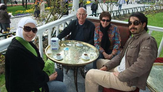 Turkey Tours by Local Guides: Ola (Abdil's wife), John & Betty Parker, and Abdil enjoying Turkish coffee in Instanbul
