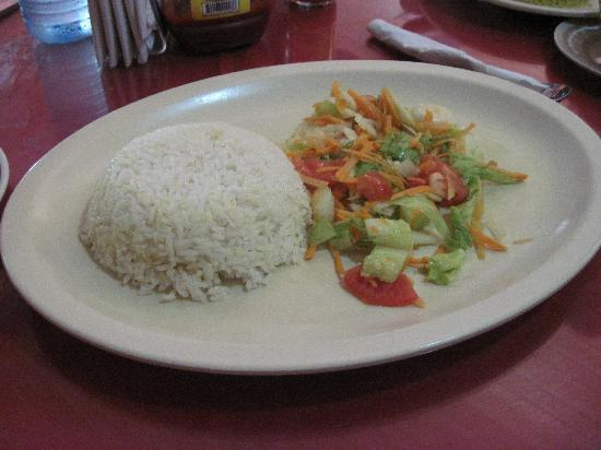 Serendib: ...with white rice and salad
