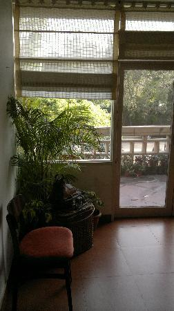 Jorbagh BnB: corridor and place for breakfest