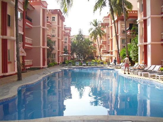 Adamo The Bellus Goa: View across pool from restaurant