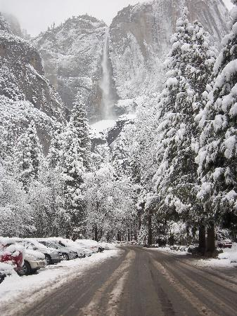 yosemite falls in fresh snow picture of yosemite valley lodge