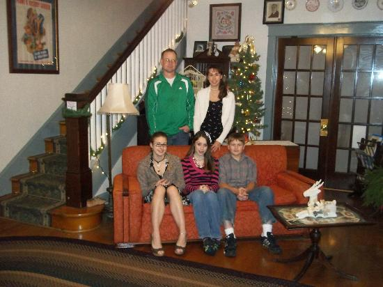 A Sentimental Journey Bed and Breakfast: The Shultz family in the living room