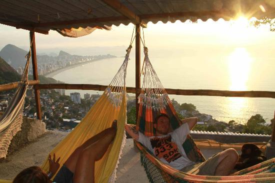 Favela Tour : the hammock lounge on top of Casa Alto Vidigal  - on top of the Favela Vidigal