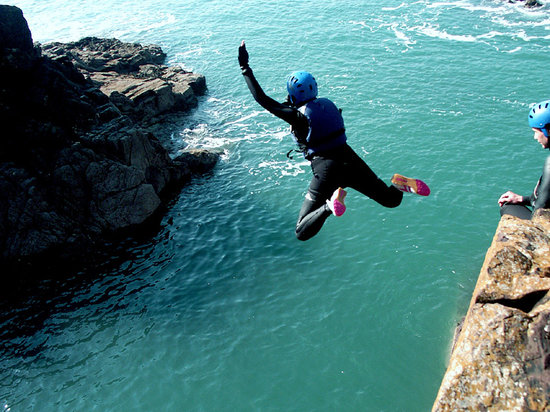 Mathry, UK: coasteering jump!
