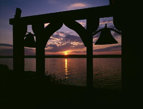 Beauport, the Sleeper-McCann House: Sunset over the Gloucester Harbor from the Beauport terrace