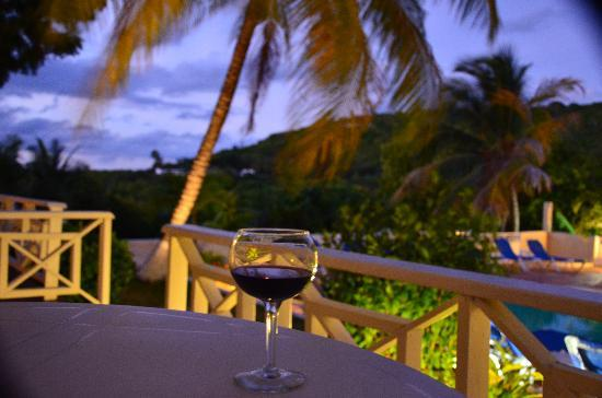 Dickenson Bay Cottages: Relaxing on our patio with a glass of vino