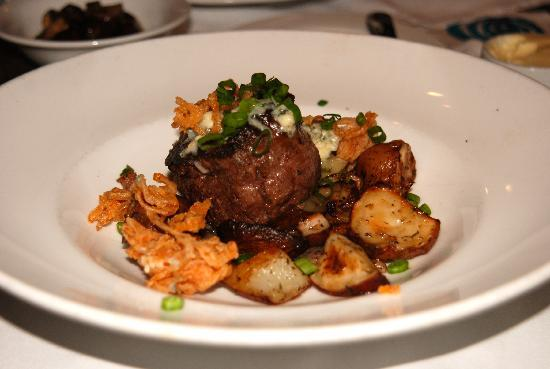 Nola Restaurant: Filet Mignon  with Thyme Roasted Red Bliss Potatoes, House Cured Bacon, Maytag Blue Cheese, Toas