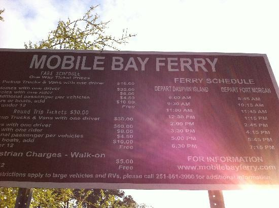 Dauphin Island Ferry Prices