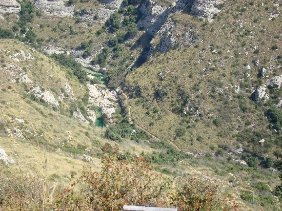 Cavagrande del Cassibile : Cava Grande, de haut
