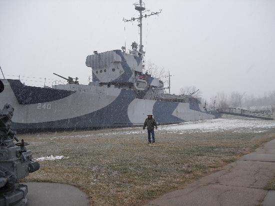 Freedom Park Navy Museum: My father in front of the sister ship to the one my grandfather served on