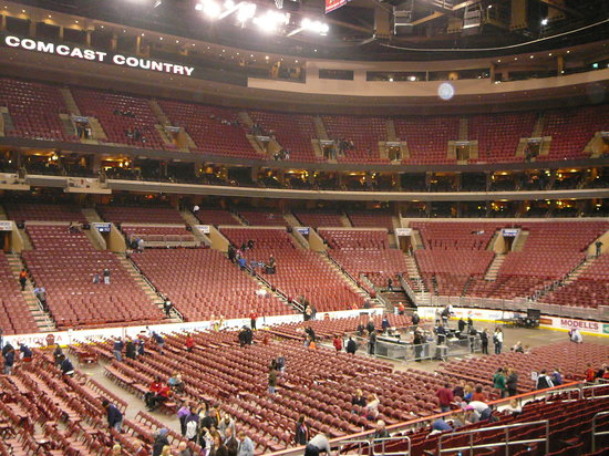 Philadelphia, PA: Interior of the Wells Fargo Center lights up