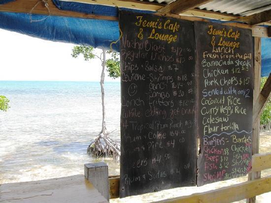 Femi's Cafe & Lounge: Femi's menu (prices in BZ$)