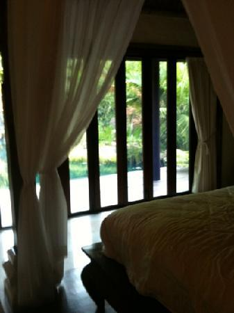 Balinese Retreat: the beautiful view from the luxurious bed!