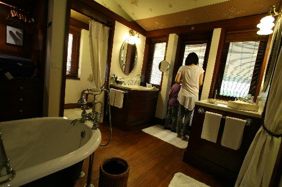 The Oberoi Rajvilas: The toilet, bath tub, walk in closet, and shower area