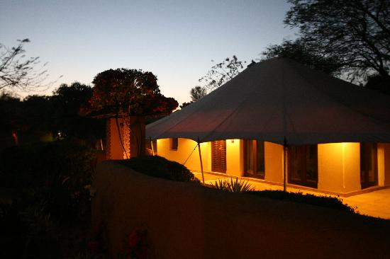 The Oberoi Rajvilas: View of the tent in the evening
