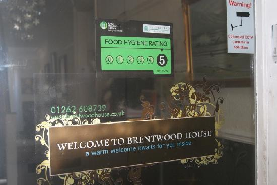 Brentwood House Hotel: Food Standard Agency Awarded 5 Very Good