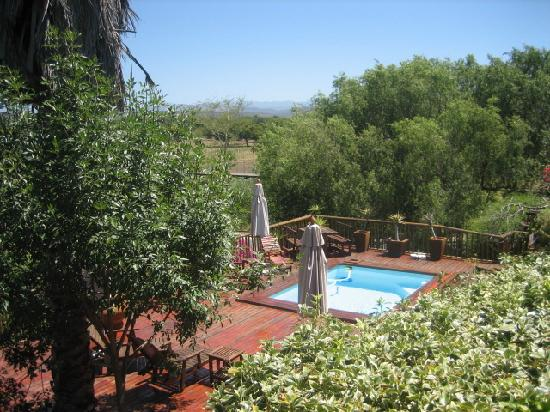 Gumtree Guest House: Pool with river and Swartberg Mountains in background