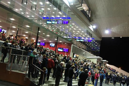 Limerick Greyhound Stadium: Crowds enjoy the racing action from the stand viewing area