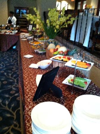One of many tables of food at Sunday brunch