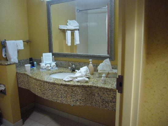 Holiday Inn Express & Suites Williamsburg: Spacious Granite Sink in Bathroom