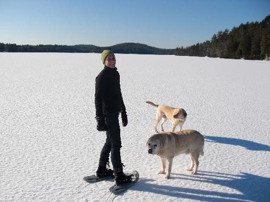 The Fern Lodge: Daily snowshoe walks on the lake with Hudson and Shadow