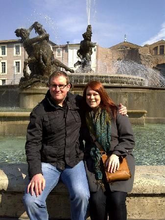 55 Inn: Us at one of the many fountains!