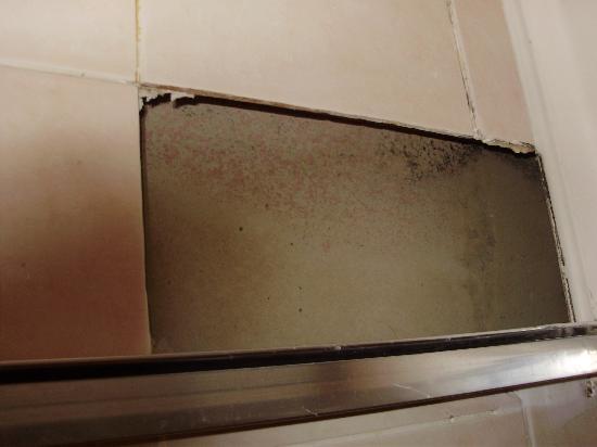 Euro Hotel Hammersmith: hole in bathroom wall