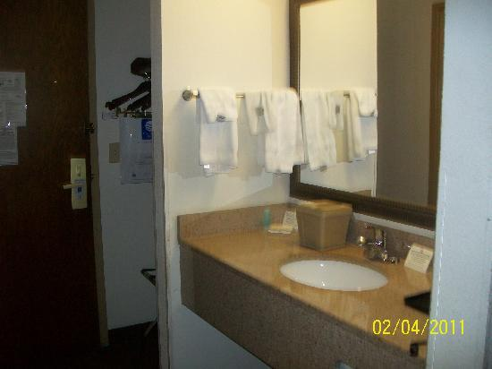 Quality Inn & Suites: bathroom sink located separate from the tub and toilet