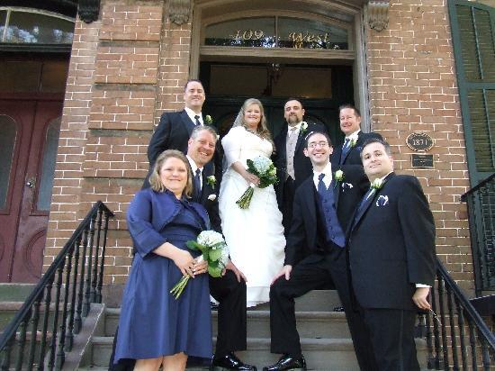 Wedding Party on front stairs of 109 West