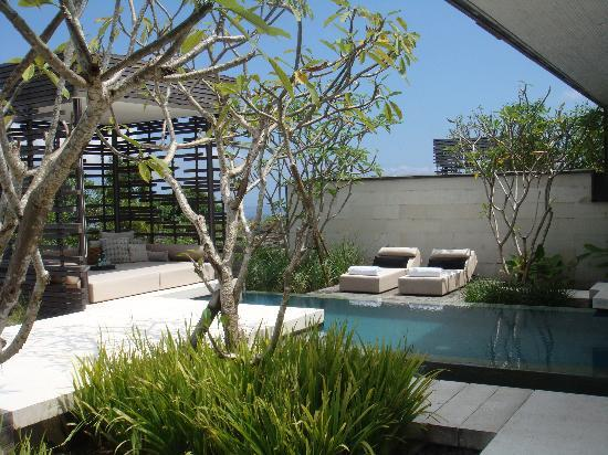 Alila Villas Uluwatu: one of the two pools of the two bedrooms villa with a cabana
