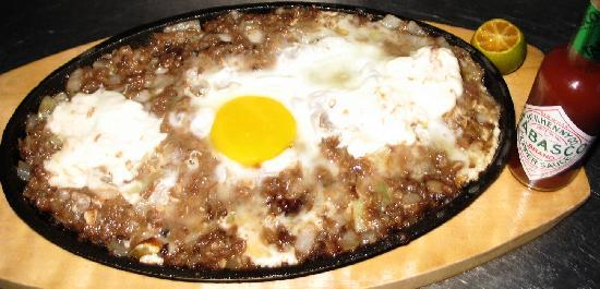 Pinoy Fiesta Ihaw Ihaw : Sisig (sizzling minced pork with egg topping)
