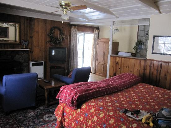 Mile High Country Inn: Big bed, nice fireplace