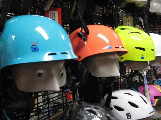 Tahoe Dave's Skis & Boards: Bright helmets- so your friends can see you when you are so far ahead on the trail.