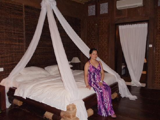 "Sirangan Beach Resort: this is called the ""nito""room,named after the native materials used"