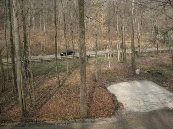 Hickory Grove Cabins - Hocking Hills : View from porch/hot tub to busy road.