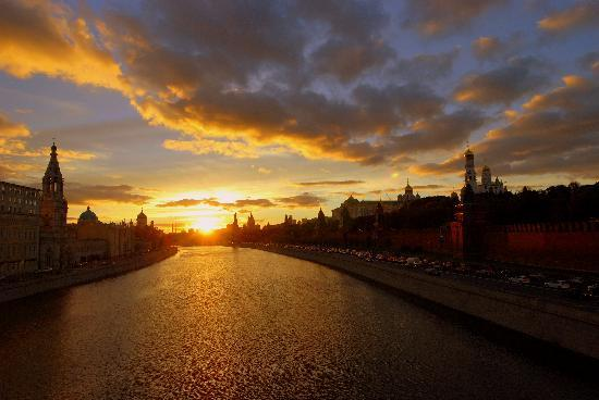Moscow, Russia: Sunset over Kremlin