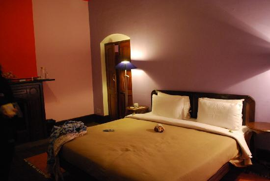 spacious room daring bright colors very cheerful and