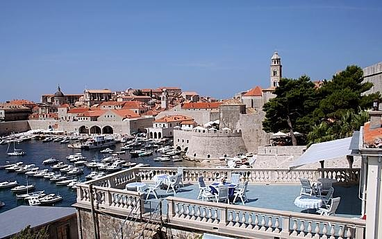 Dubrovnik Old Town And Villa Adriatica Terrace To The Right