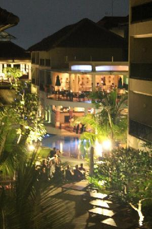 The Camakila Legian Bali: Night time view to the main pool from our room